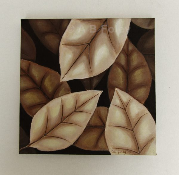 acrylic painting of brown autumn leaves on a dark brown background, viewed from a distance on a grey wall