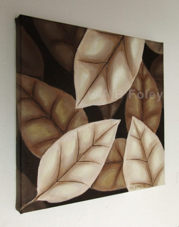 acrylic painting of brown autumn leaves on a dark brown background, viewed from the left side