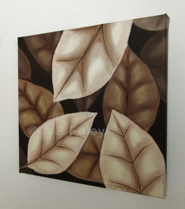 acrylic painting of brown autumn leaves on a dark brown background, viewed from the right side