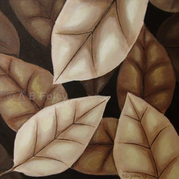 acrylic painting of brown autumn leaves on a dark brown background