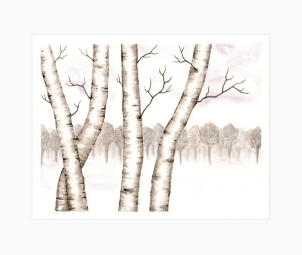 watercolor landscape painting of birch trees in snow with gray trees in the distance