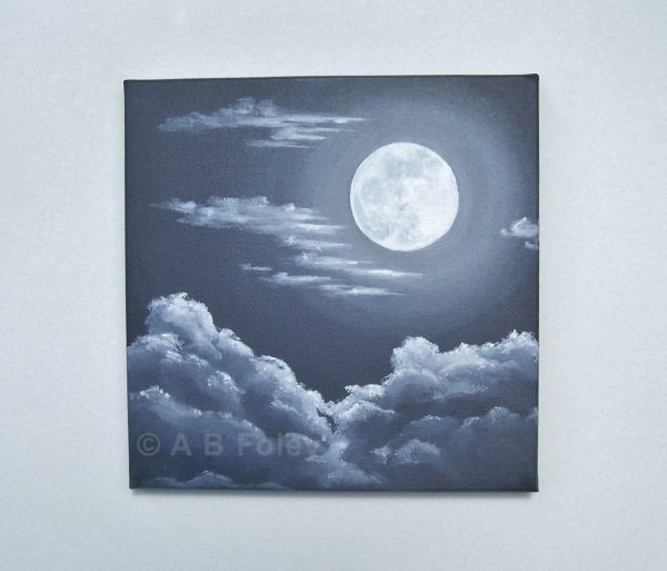 black and white acrylic painting of a full moon at night with gray clouds around and below it viewed from a distance