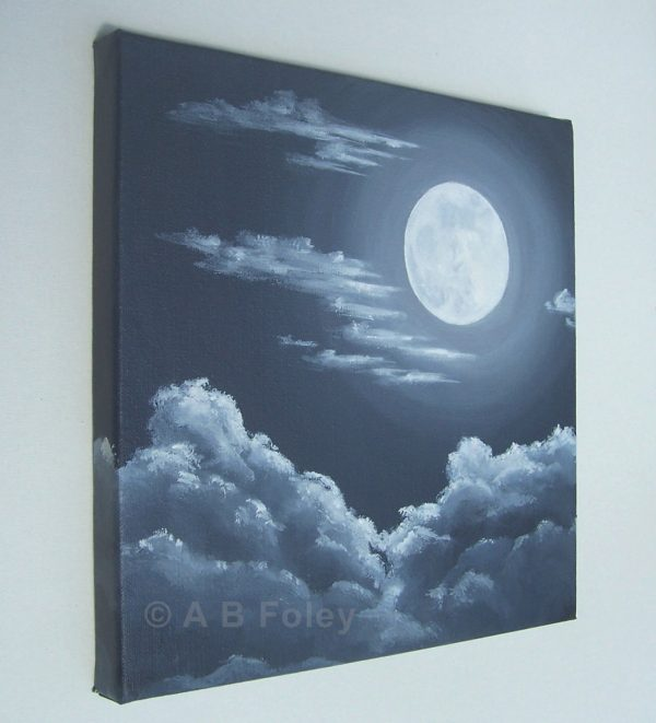black and white acrylic painting of a full moon at night with gray clouds around and below it, viewed from the left side