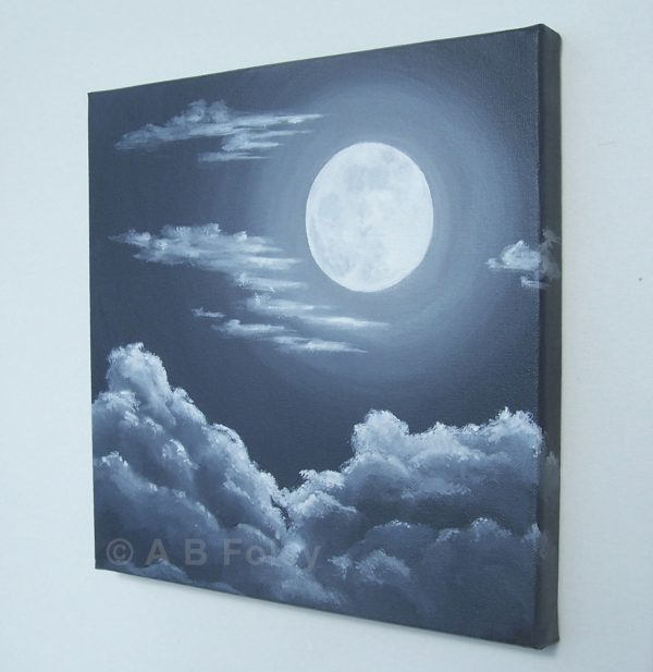 black and white acrylic painting of a full moon at night with gray clouds around and below it, viewed from the right side