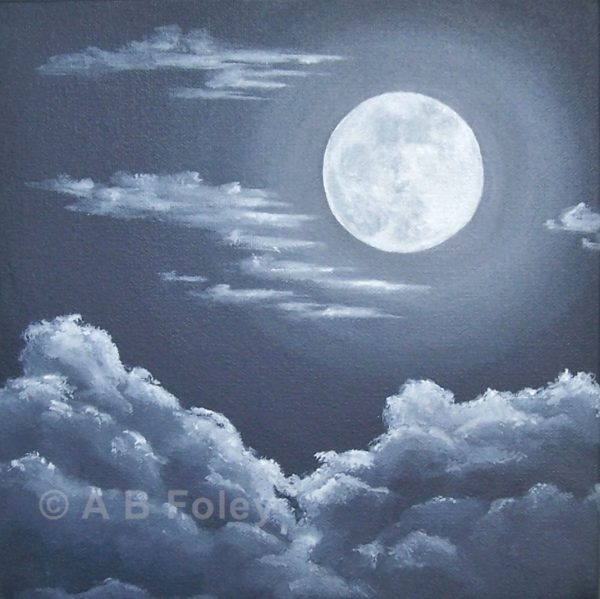 black and white acrylic painting of a full moon at night with gray clouds around and below it