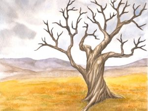 watercolor landcape painting of a gnarled leafless tree with brown bark in a yellow field with distant mountains and a cloudy sky