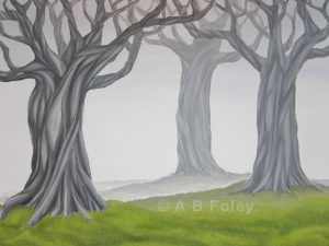 acrylic painting of twisting gray tree trunks in fog with green grass