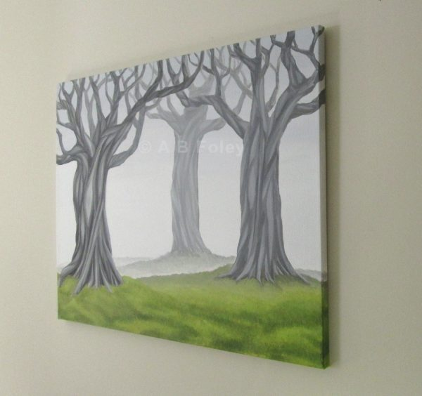 photo of the right edge of an acrylic landscape painting of grey tangled trees on a foggy background with green grass