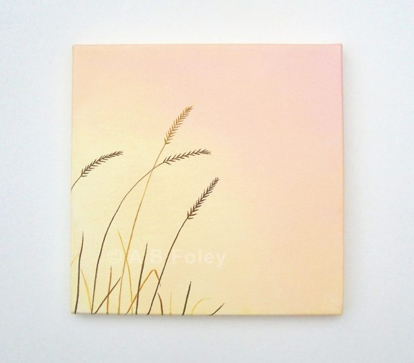 acrylic painting of brown grass close up against a pink and peach background viewed from a distance