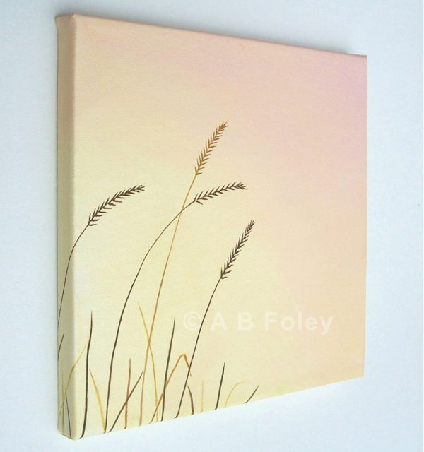 acrylic painting of brown grass close up against a pink and peach background, viewed from the left side