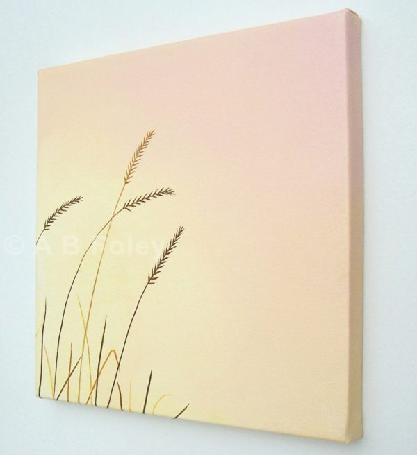 acrylic painting of brown grass close up against a pink and peach background, viewed from the right side