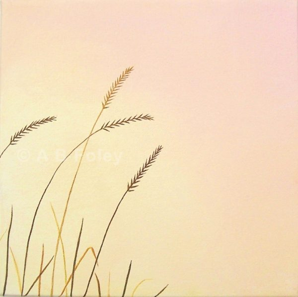 acrylic painting of brown grass close up against a pink and peach background