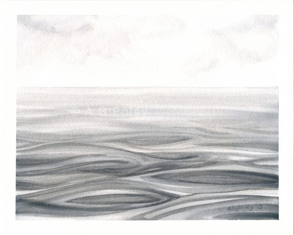 watercolor seascape painting of rippling gray water under a cloudy sky