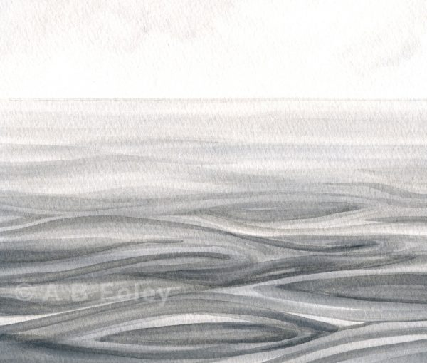 watercolor seascape painting of rippling gray water under a cloudy sky, close up of detail