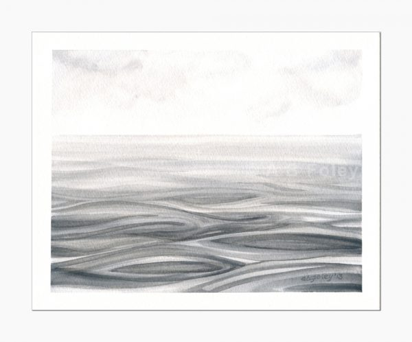 watercolor seascape painting of rippling gray water under a cloudy sky, painting viewed from a distance