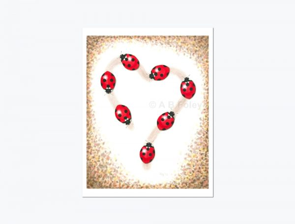 print of a watercolor painting of seven red ladybugs tracing a heart-shaped path on a white background with brown leaves around the edges, viewed from a distance