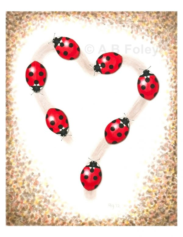 print of a watercolor painting of seven red ladybugs tracing a heart-shaped path on a white background with brown leaves around the edges