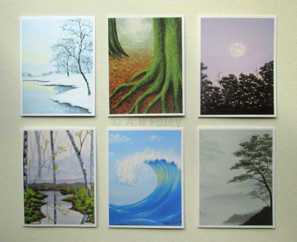 Set of 6 landscape art note cards