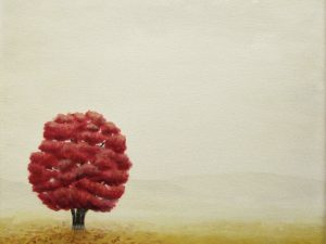 acrylic painting of a red tree and brown grass on a gray foggy background