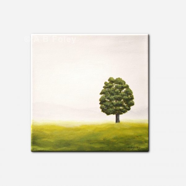 acrylic landscape painting of one tree standing in a grassy field with a misty gray background, viewed from a distance