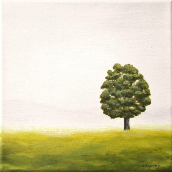 acrylic painting of a single tree standing in a grassy field with a gray background