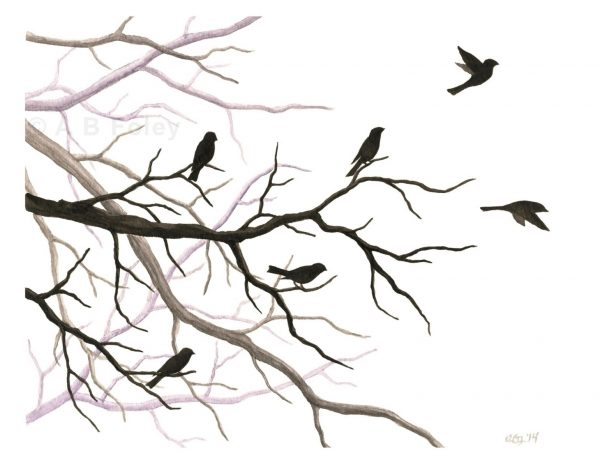 print of a watercolor painting of bird and tree branch silhouettes, with some birds taking off and some birds perching.