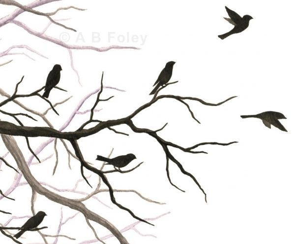print of a watercolor painting of bird and tree branch silhouettes, with some birds taking off and some birds perching, close up of detail