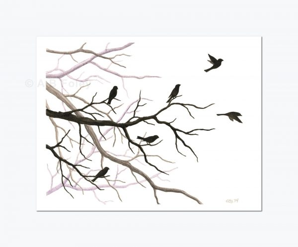print of a watercolor painting of bird and tree branch silhouettes, with some birds taking off and some birds perching, viewed from a distance