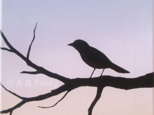 acrylic painting of a bird on a branch in silhouette against and lavender and pink background