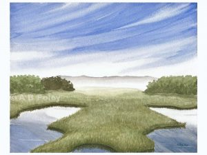 print of a salt marsh landscape watercolor painting with blue sky, wispy clouds and green grass