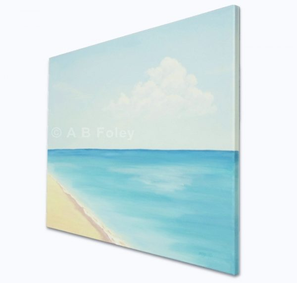 acrylic seascape painting of a sandy beach with a calm blue ocean and a blue sky, viewed from the right side