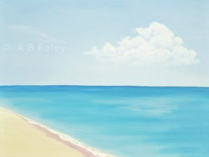 acrylic seascape painting of a sandy beach with a calm blue ocean and a blue sky
