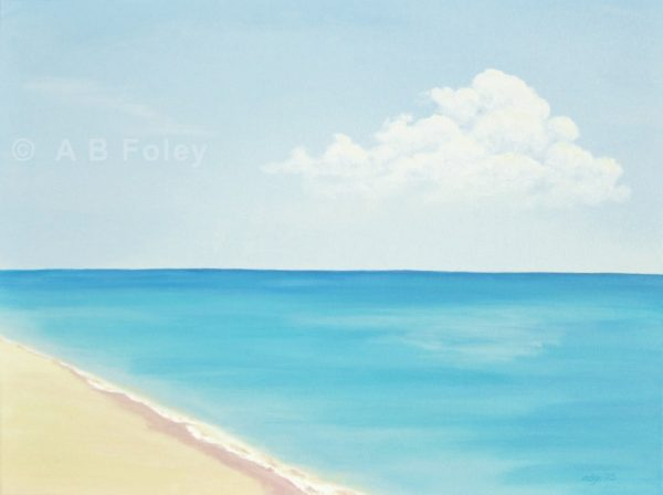 acrylic seascape painting of a sandy beach with a calm blue ocean and a blue sky