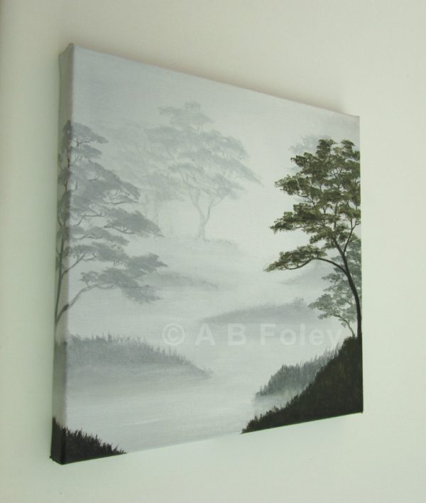 landscape painting of leafy trees silhouetted on a misty gray background, viewed from the left side