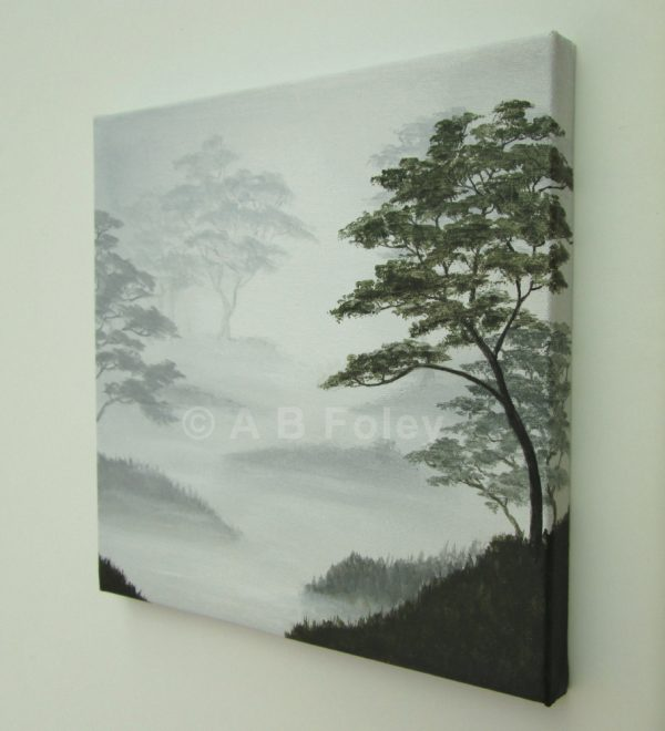 landscape painting of leafy trees silhouetted on a misty gray background, viewed from the right side