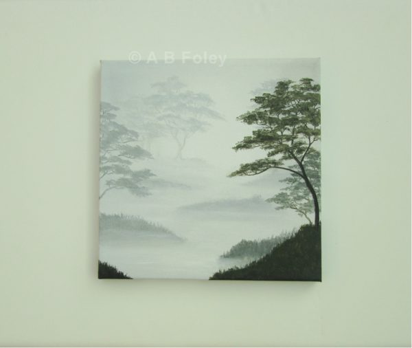landscape painting of leafy trees silhouetted on a misty gray background, viewed from a distance