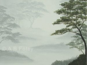 landscape painting of leafy trees silhouetted on a misty gray background