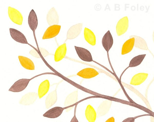 minimalist watercolor painting of brown branches with yellow, orange and brown leaves, close up of detail