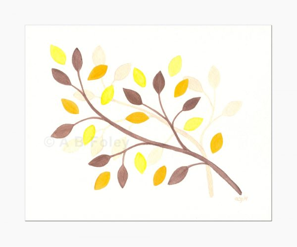minimalist watercolor painting of brown branches with yellow, orange and brown leaves, viewed from a distance on a gray background
