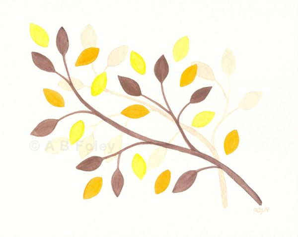 minimalist watercolor painting of brown branches with yellow, orange and brown leaves