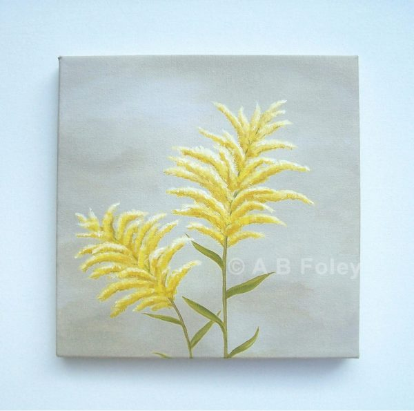 Floral painting of goldenrod flowers against a gray background, viewed from a distance