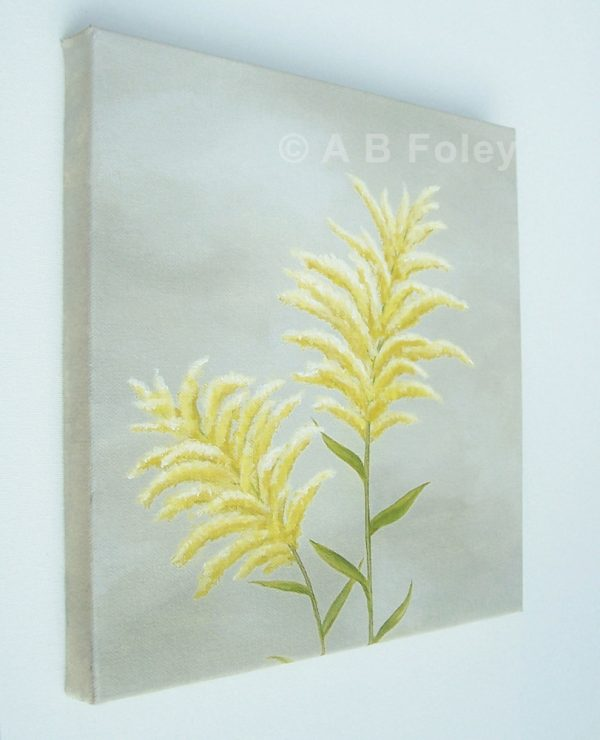 Floral painting of goldenrod flowers against a gray background, viewed from the left side