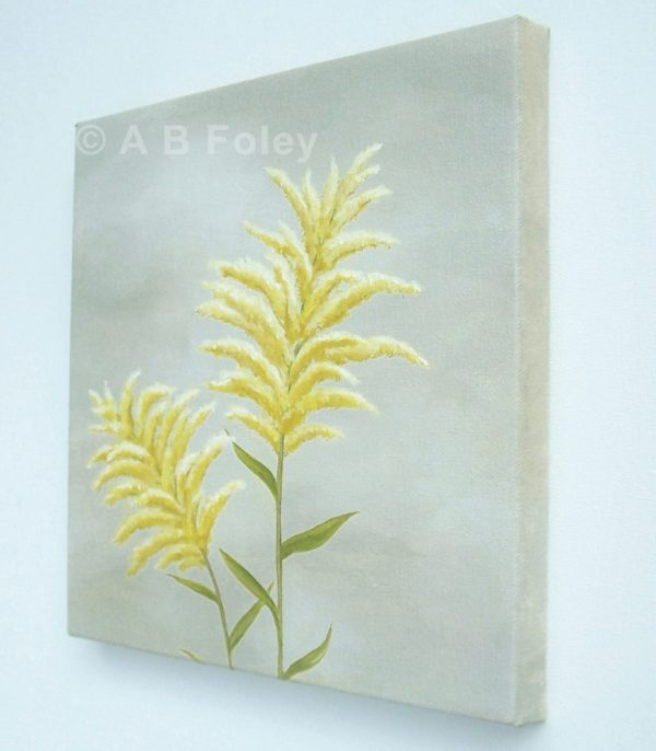 Floral painting of goldenrod flowers against a gray background, viewed from the right side