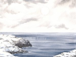 watercolor seascape painting of a rocky coastline covered with snow and a blue-grey sea under a cloudy sky with the sun barely visible through the clouds