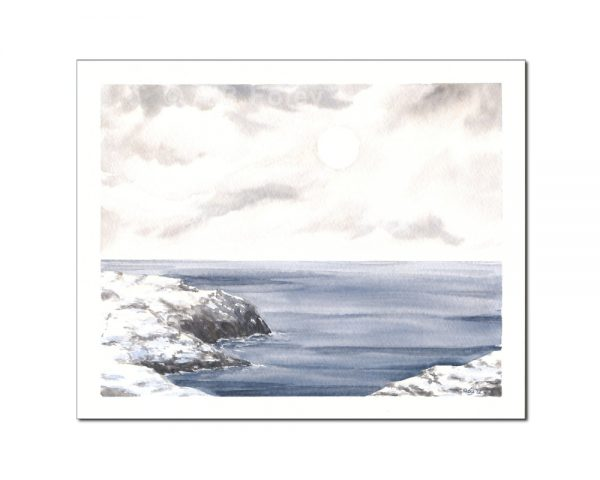 watercolor seascape painting of a rocky coastline covered with snow and a blue-grey sea under a cloudy sky with the sun barely visible through the clouds, viewed from a distance on a white background