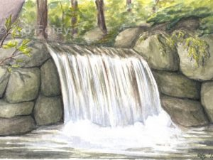 watercolor landscape painting of a small waterfall flowing over gray rocks in a forest