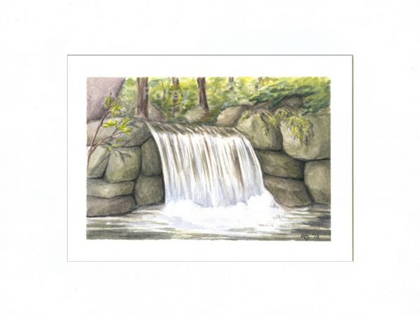 watercolor landscape painting of a small waterfall flowing over gray rocks in a forest, viewed from a distance