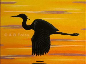 painting on canvas of a great blue heron silhouette flying over sunset water in yellow and orange with purple ripples