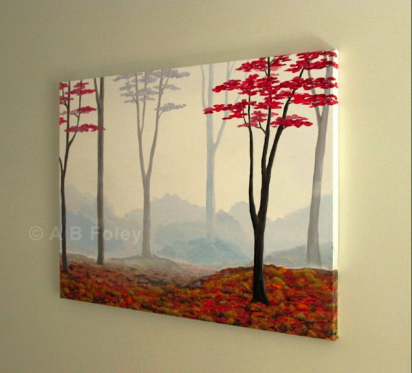 foggy autumn forest painting with red trees on a misty gray background, viewed on an angle from the right side