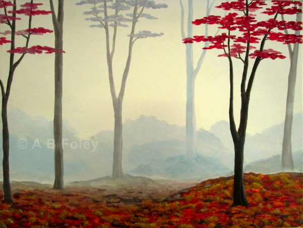 foggy autumn forest painting with red trees on a misty gray background